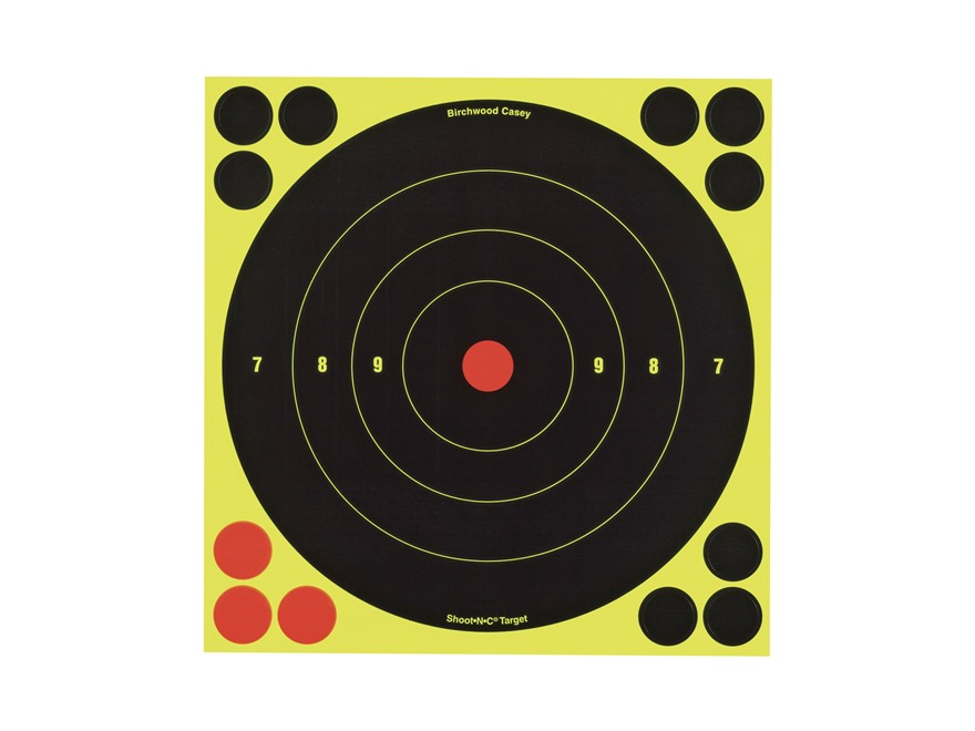 "Birchwood Casey Shoot-N-C Targets 8"" Bullseye Package of 6 with 24 Pasters"