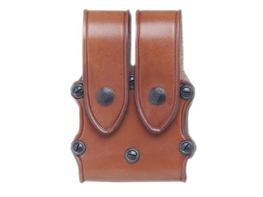 Hunter 5500 Pro-Hide Double Magazine Pouch with Flaps Double-Stack Magazine Leather Brown