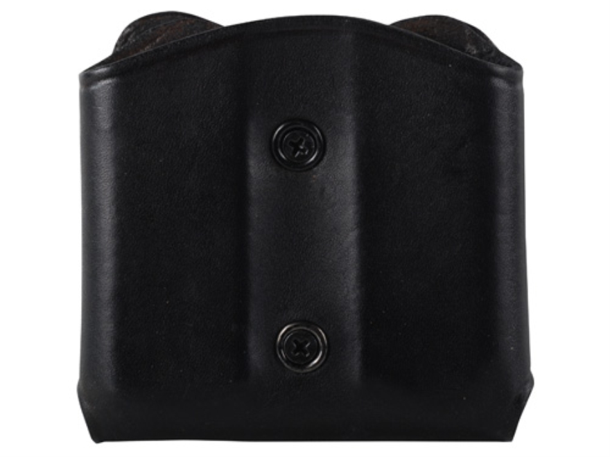 Ross Leather M52 Open Top Belt Slide Double Magazine Pouch Single Stack 45 ACP Leather Black