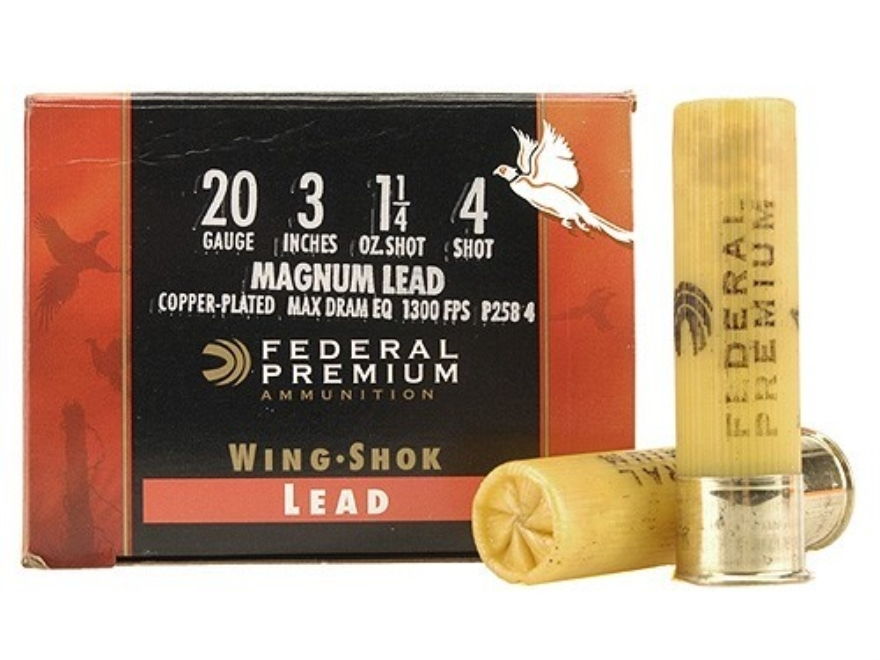 "Federal Premium Wing-Shok Ammunition 20 Gauge 3"" 1-1/4 oz Buffered #4 Copper Plated Shot Box of 25"