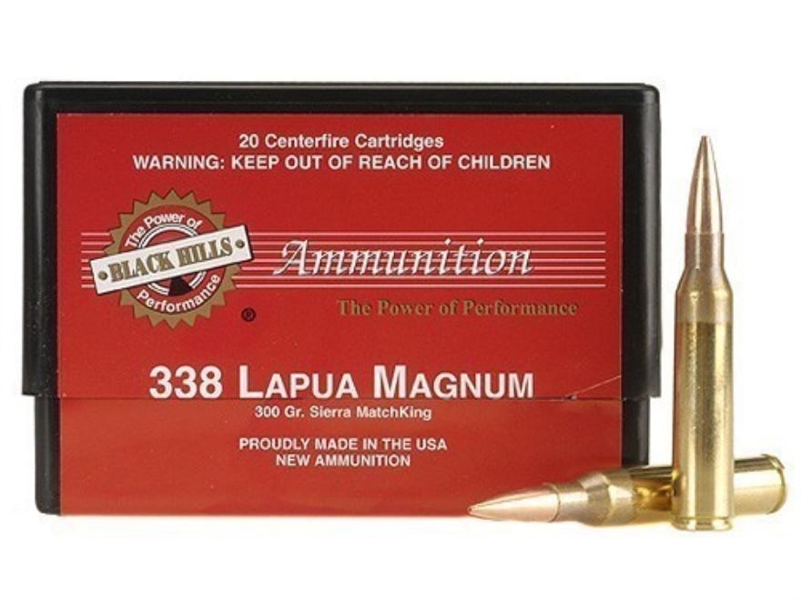 Black Hills Ammunition 338 Lapua Magnum 300 Grain Sierra MatchKing Hollow Point Boat Ta...