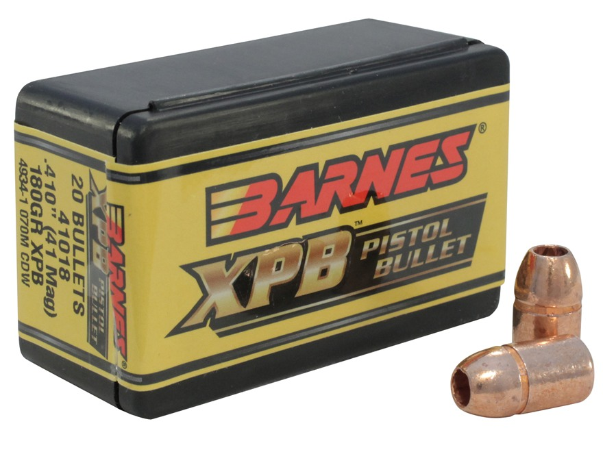 Barnes XPB Handgun Bullets 41 Remington Magnum (410 Diameter) 180 Grain Solid Copper Hollow Point Lead-Free Box of 20