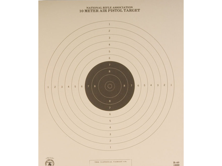 NRA Official Air Pistol Targets B-40 10 Meter Paper Package of 100