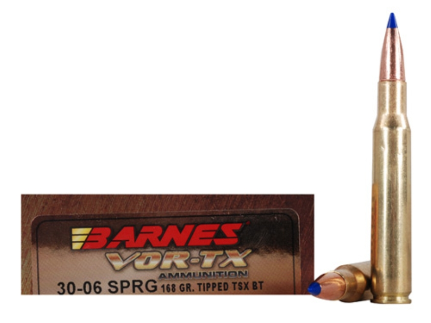 Barnes VOR-TX Ammunition 30-06 Springfield 168 Grain Tipped Triple-Shock X Bullet Boat Tail Lead-Free Box of 20