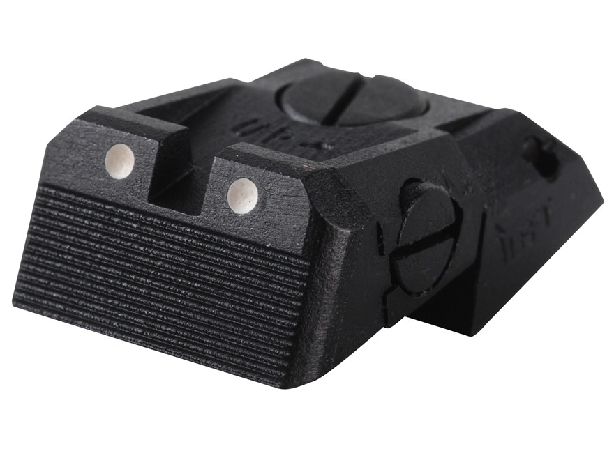 Kensight Adjustable Defensive Rear Sight 1911 Novak LoMount Cut Steel Black Serrated Blade with White Dots