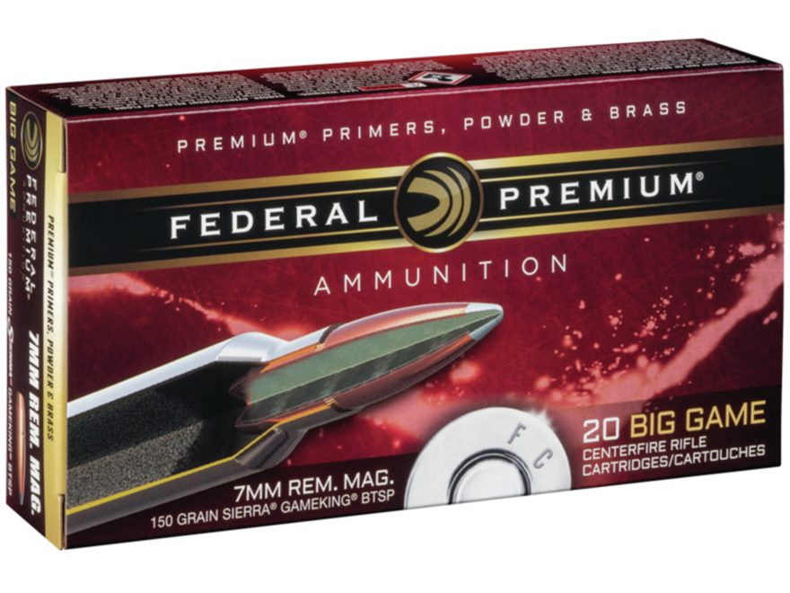 Federal Premium Vital-Shok Ammunition 7mm Remington Magnum 150 Grain Sierra GameKing Boat Tail Box of 20