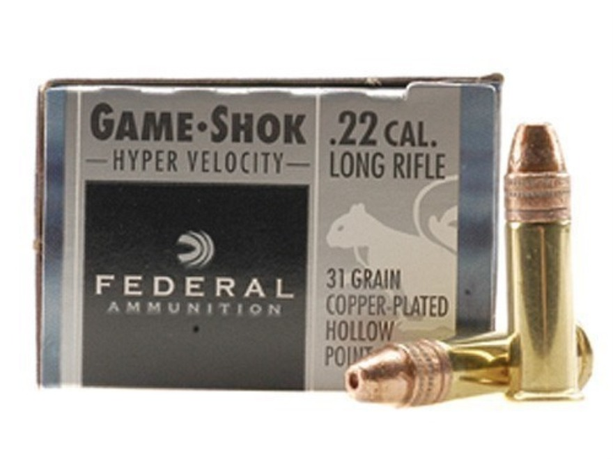 Federal Game-Shok Ammunition 22 Long Rifle Hyper Velocity 31 Grain Plated Lead Hollow Point Box of 500 (10 Boxes of 50)