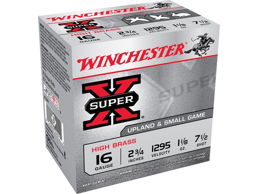 """Winchester Super-X High Brass Ammunition 16 Gauge 2-3/4"""" 1-1/8 oz #7-1/2 Shot"""