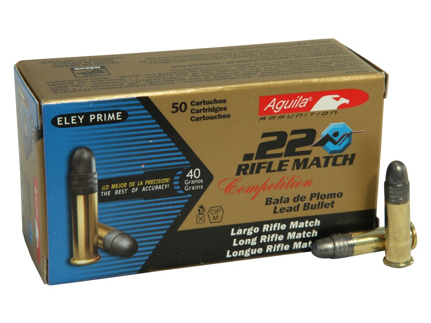 Aguila Match Rifle Ammunition 22 Long Rifle 40 Grain Lead Round Nose Box of 500 (10 Boxes of 50)