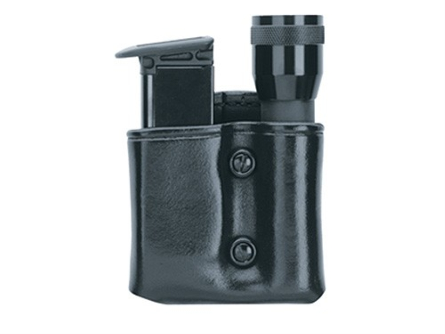 Gould & Goodrich B860 Single Magazine and Flashlight Pouch Beretta 92, 96, Sig Sauer P220, P225,P226, P228, P229, P239, Springfield XD9, XD40, S&W M&P Streamlight Scorpion Leather Black
