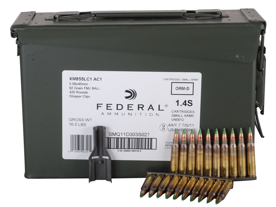 Federal Ammunition 5.56x45mm NATO 62 Grain XM855 SS109 Penetrator Full Metal Jacket 10 Round Clips in Ammunition Can of 420 (14 Boxes of 30)