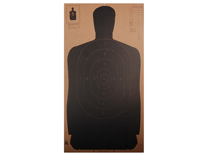 "NRA Official Silhouette Targets B-27 (24"") 50 Yard Cardboard Black Package of 24"