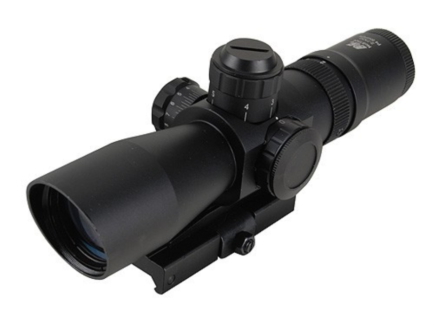 NcStar Mark 3 Compact Tactical Rifle Scope 2-7x 32mm Red or Green Illuminated P4 Sniper Reticle Matte with Integral Quick Release Weaver-Style Base