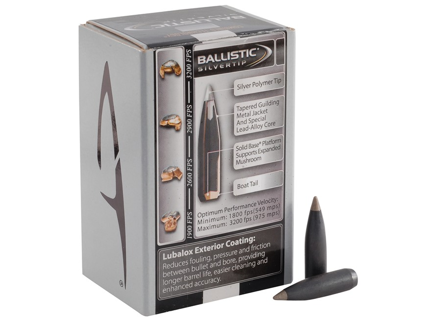 Combined Technology Ballistic Silvertip Hunting Bullets 30 Caliber (308 Diameter) 168 Grain Boat Tail Box of 50
