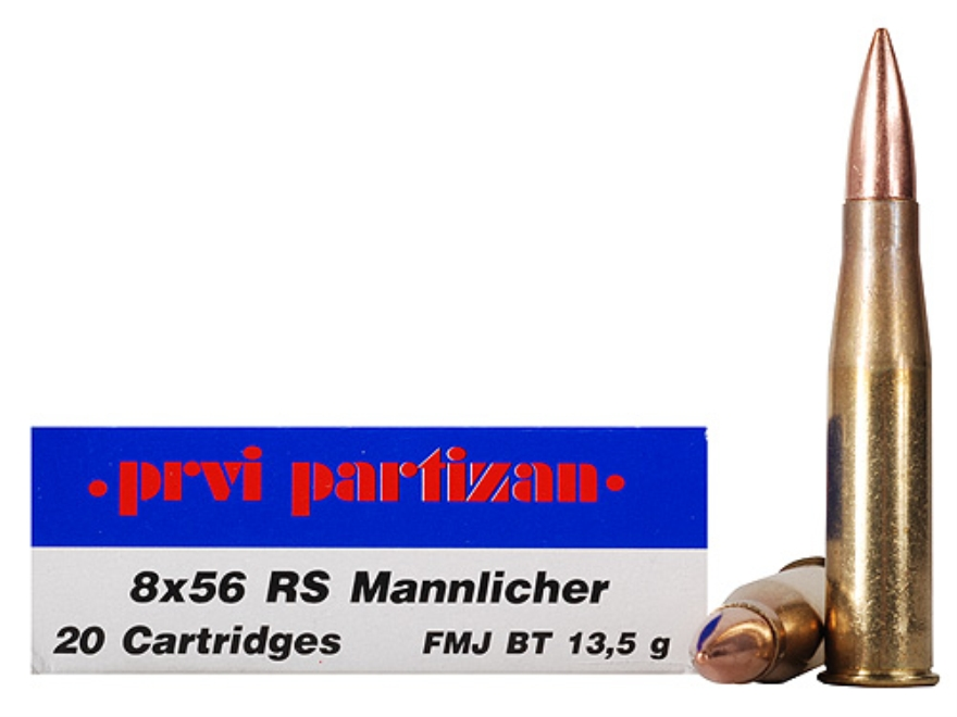 Prvi Partizan Ammunition 8x56mm Rimmed Hungarian (RS Mannlicher) 208 Grain Full Metal Jacket Box of 20
