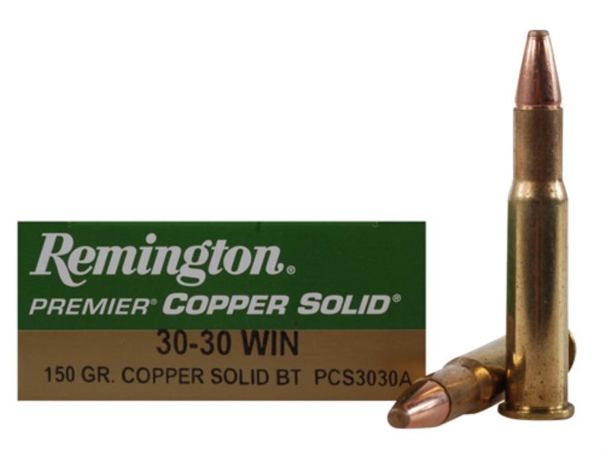 Remington Premier Ammunition 30-30 Winchester 150 Grain Copper Solid Tipped Boat Tail L...