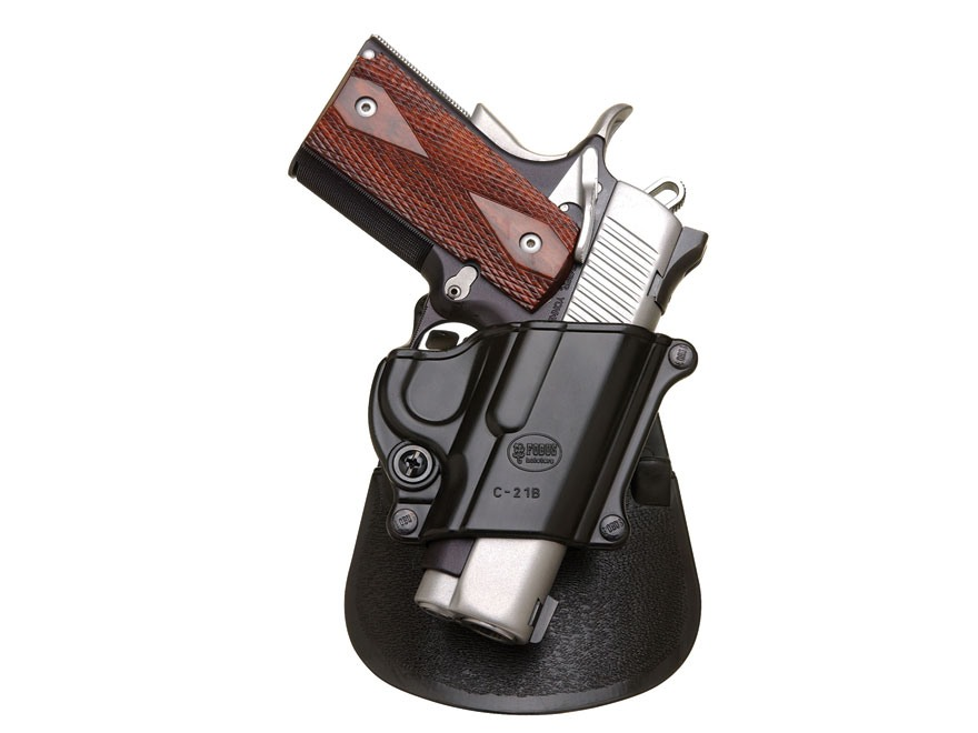 Fobus Compact Paddle Holster Right Hand 1911 Officer, Browning Hi-Power, Kahr P9, T9, MK9, K9, TP9, T40, K40, MK40 Polymer Black