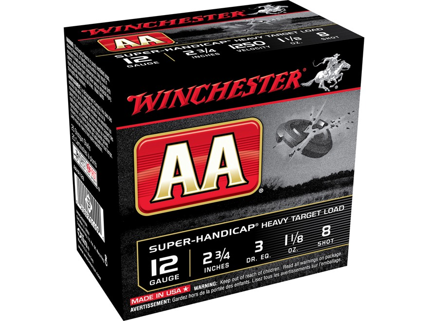 "Winchester AA Super-Handicap Heavy Target Ammunition 12 Gauge 2-3/4"" 1-1/8 oz #8 Shot"