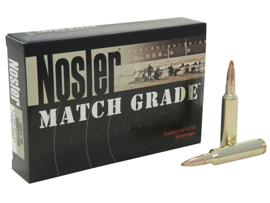 Nosler Match Grade Ammunition 6.5mm-284 Norma 140 Grain Custom Competition Hollow Point Boat Tail Box of 20