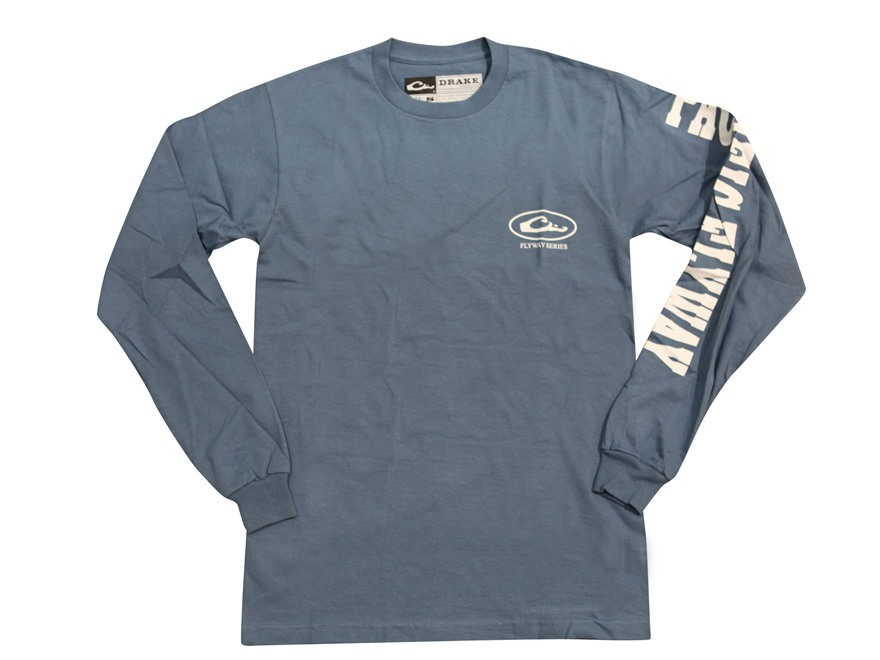 Drake Men's Pacific Flyway Series T-Shirt Long Sleeve Cotton Blue XL