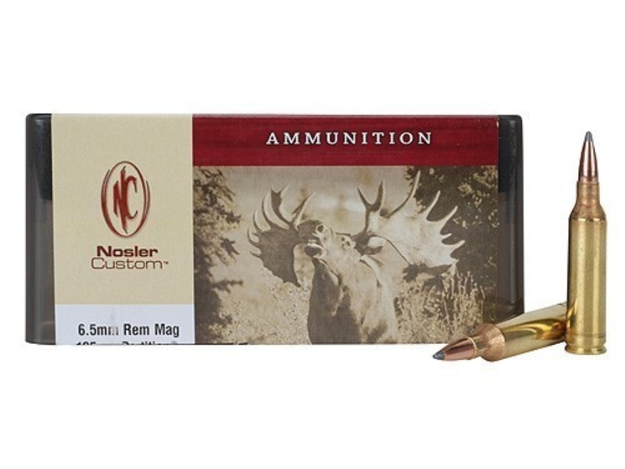 Nosler Custom Ammunition 6.5mm Remington Magnum 125 Grain Partition Spitzer Box of 20