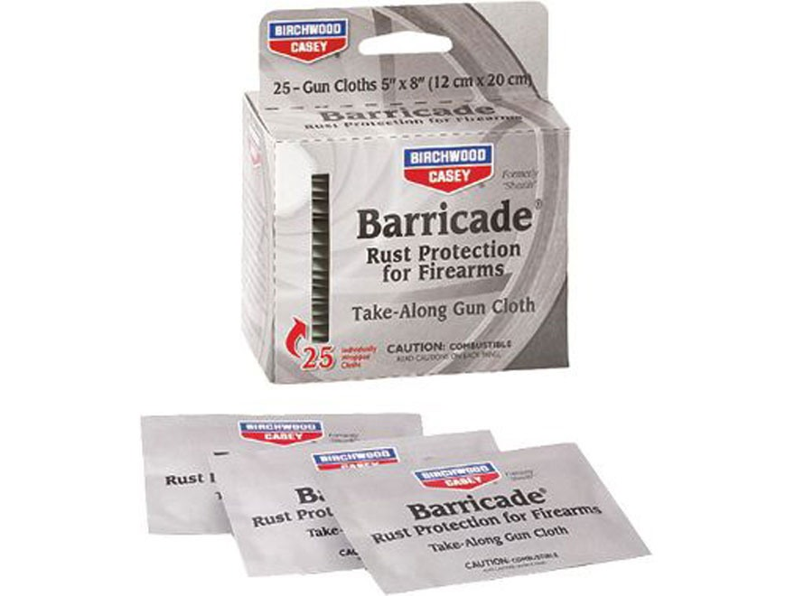 Birchwood Casey Barricade Rust Protection Take-Alongs Gun Wipes Package of 25