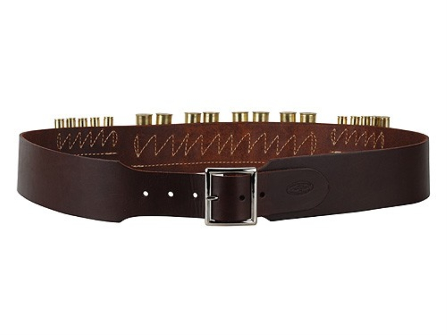 "Hunter Cartridge Belt Combo 2-1/2"" 45 Caliber 10 Loops and 12 Gauge 8 Loops Leather Antique Brown"