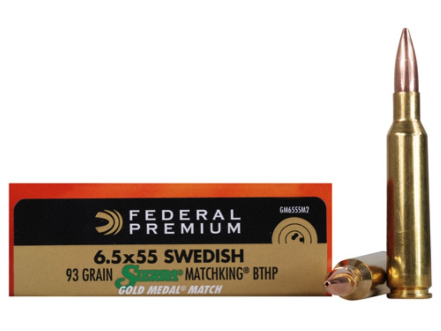 Federal Premium Gold Medal Ammunition 6.5x55mm Swedish Mauser 93 Grain Sierra MatchKing...