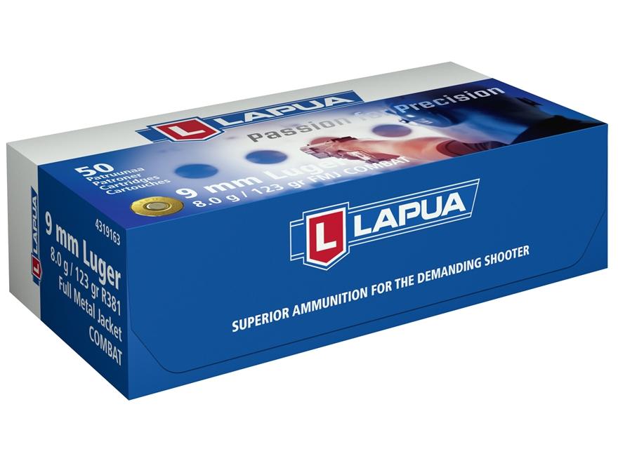 Lapua Ammunition 9mm Luger 123 Grain Combat Full Metal Jacket Box of 50
