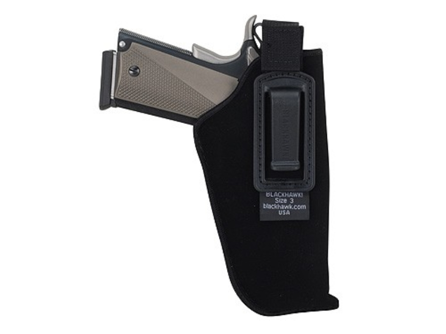 "BLACKHAWK! Inside the Waistband Holster with Retention Strap Right Hand Medium Double Action Revolver 4"" Barrel Ultra-Thin 4-Layer Laminate Black"