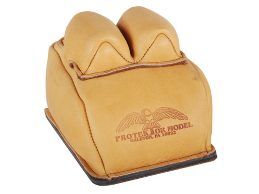 Protektor Custom Bunny Ear Rear Shooting Rest Bag with Heavy Bottom Leather Tan Filled