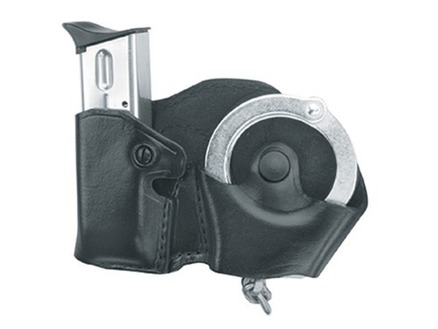 Gould & Goodrich B841 Belt Handcuff and Magazine Carrier Left Hand 1911 Government, Kahr Micro MK9, Elite MK9, MK40, Covert 40, E9, K9, P9, K40, P40, Sig Sauer P230, P232, Walther PPK Leather Black