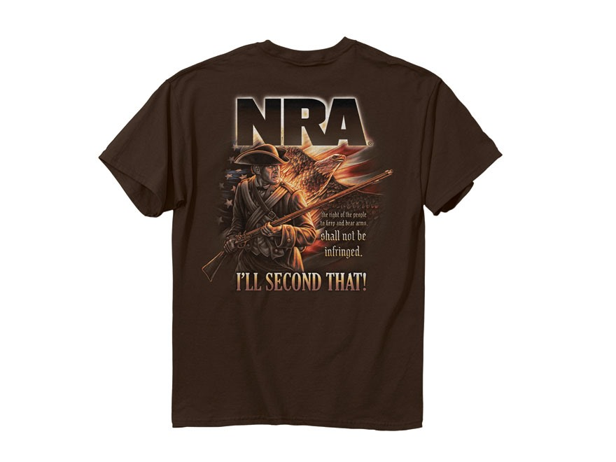 NRA Men's I'll Second That T-Shirt Short Sleeve Cotton Dark Chocolate