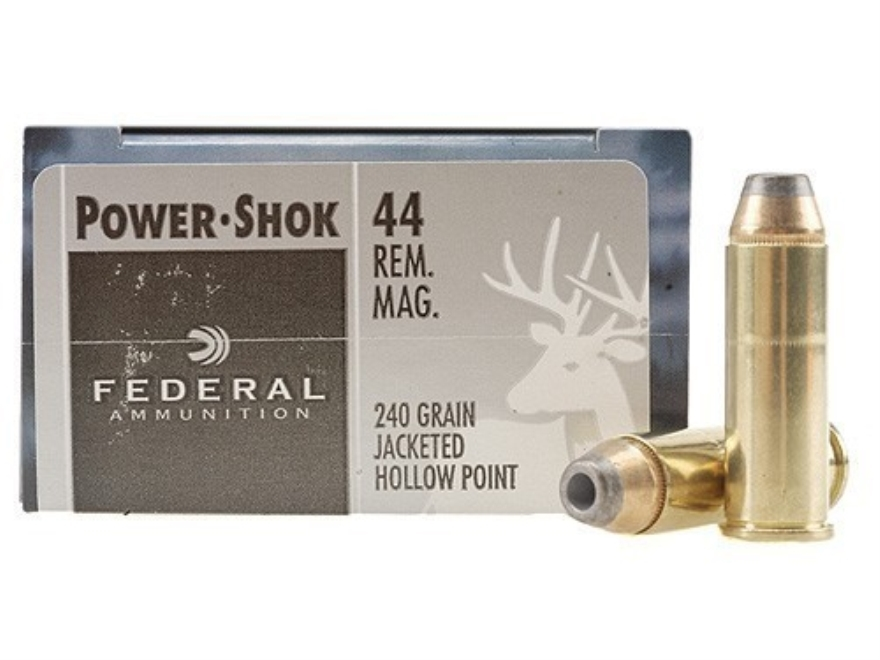 Federal Power-Shok Hunting Ammunition 44 Remington Magnum 240 Grain Jacketed Hollow Point Box of 20