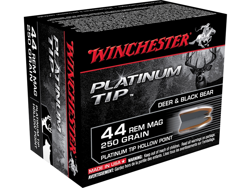 Winchester Supreme Ammunition 44 Remington Magnum 250 Grain Platinum Tip Hollow Point