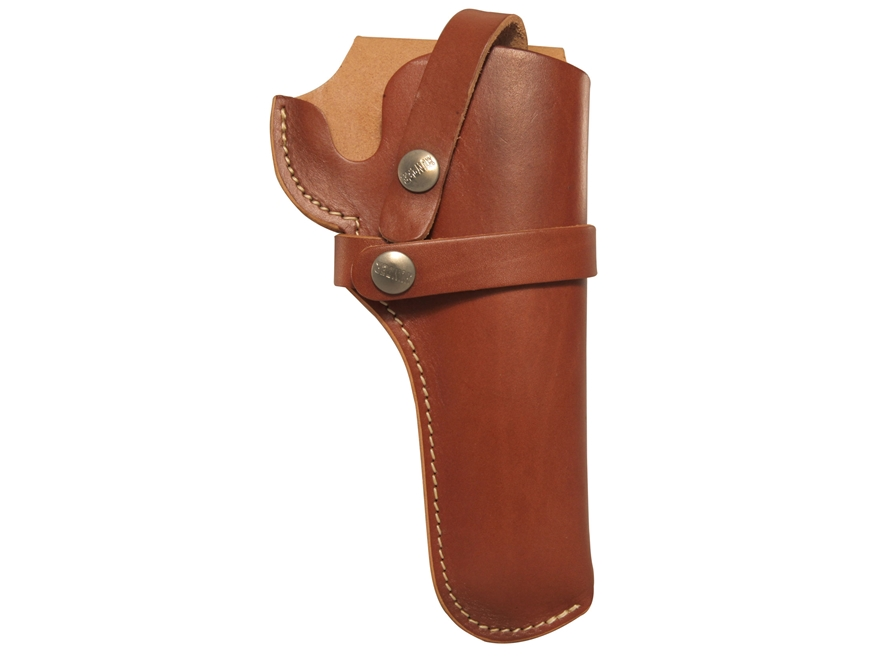 "Hunter 1100 Snap-Off Belt Holster Right Hand 4.75"" Barrel Colt Single Action Army, Ruger Blackhawk, Vaquero Leather Brown"