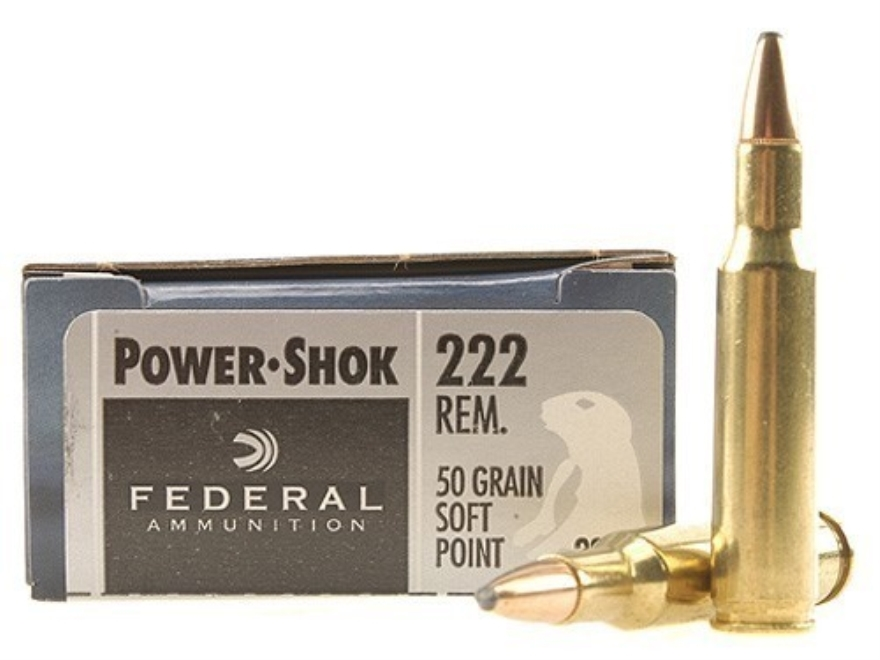 Federal Power-Shok Ammunition 222 Remington 50 Grain Soft Point Box of 20