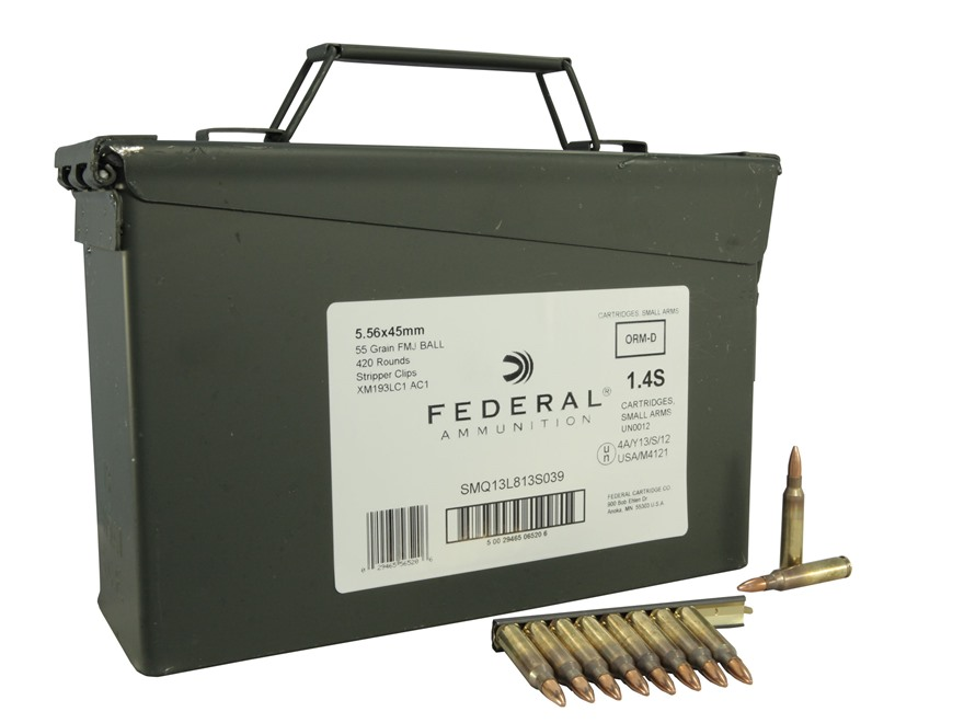 Federal Ammunition 5.56x45mm NATO 55 Grain XM193 Full Metal Jacket Boat Tail 10 Round C...