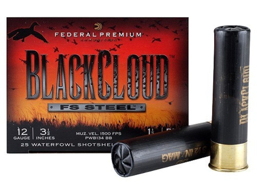 "Federal Premium Black Cloud Ammunition 12 Gauge 3-1/2"" 1-1/2 oz BB Non-Toxic FlightStopper Steel Shot"