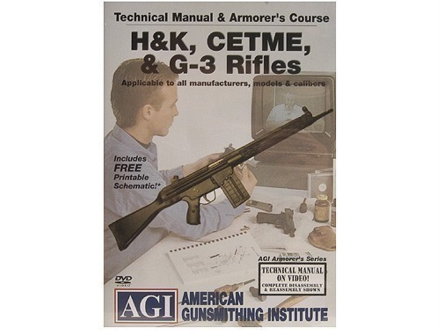 "American Gunsmithing Institute (AGI) Technical Manual & Armorer's Course Video ""HK, CETME & G-3 Rifles"" DVD"