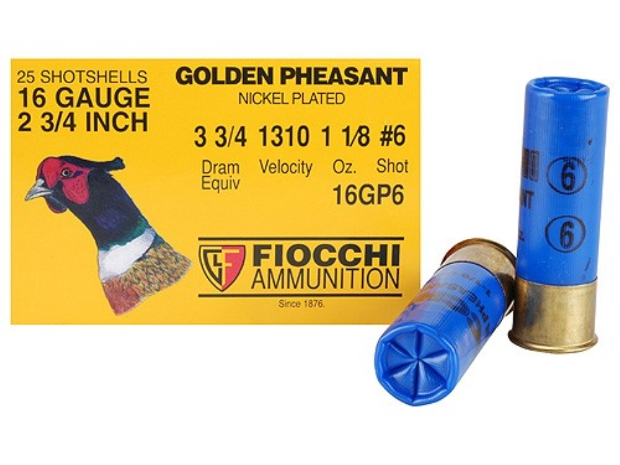 "Fiocchi Golden Pheasant Ammunition 16 Gauge 2-3/4"" 1-1/8 oz #6 Nickel Plated Shot Box o..."