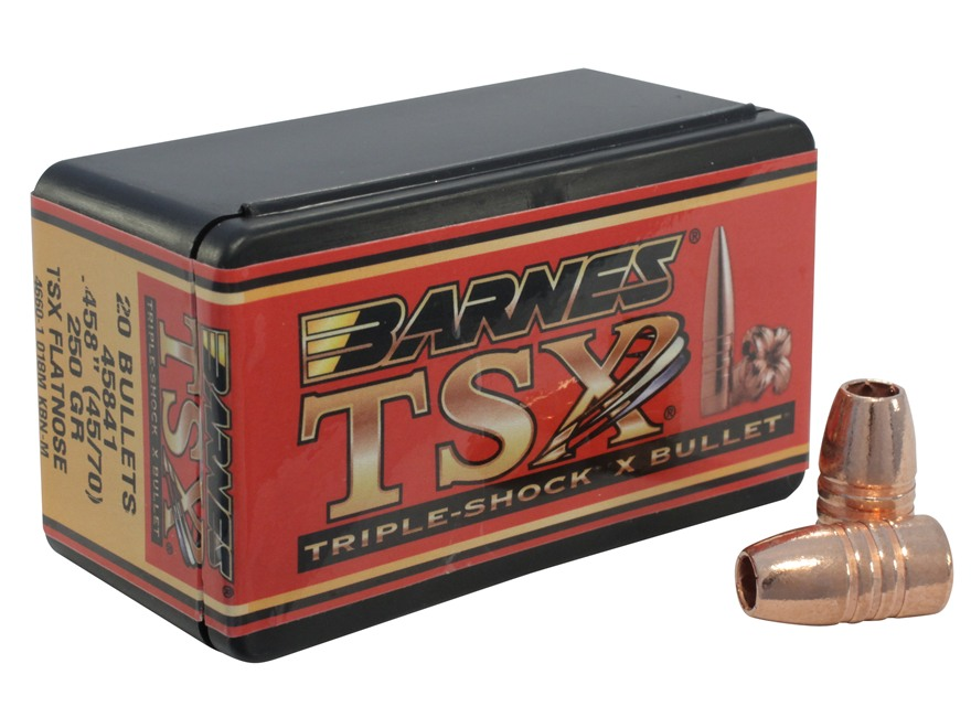 Barnes Triple-Shock X Bullets 45-70 Caliber (458 Diameter) 250 Grain Flat Nose Lead-Free Box of 20
