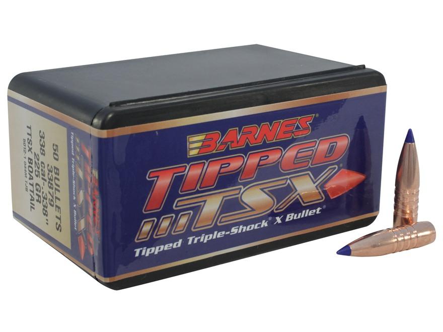Barnes Tipped Triple-Shock X Bullets 338 Caliber (338 Diameter) 225 Grain Spitzer Boat ...