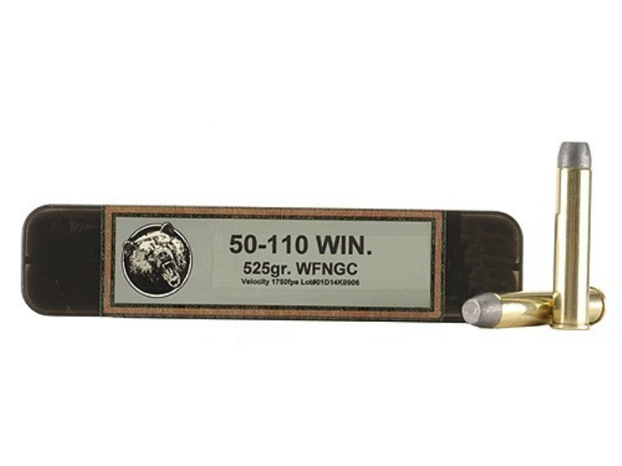 Grizzly Ammunition 50-110 WCF +P 525 Grain Cast Performance Lead Wide Flat Nose Gas Check Box of 20
