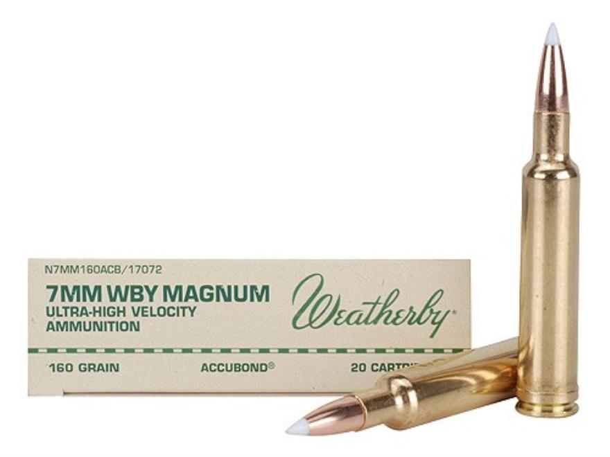 Weatherby Ammunition 7mm Weatherby Magnum 160 Grain Nosler AccuBond Box of 20