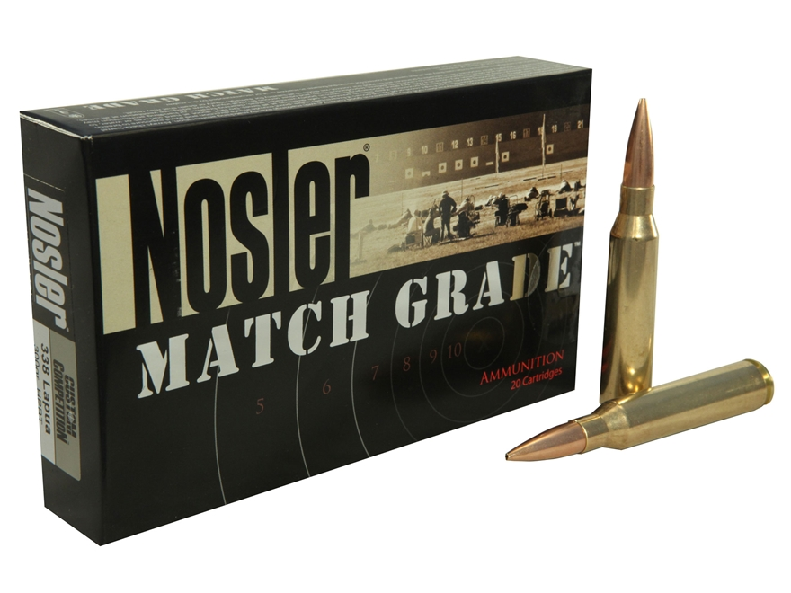 Nosler Match Grade Ammunition 338 Lapua Magnum 300 Grain Custom Competition Hollow Point Boat Tail Box of 20