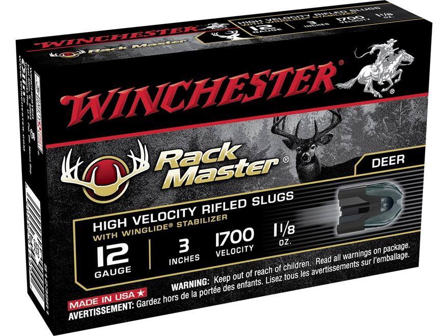 "Winchester RackMaster Ammunition 12 Gauge 3"" 1-1/8 oz Rifled Slug Box of 5"