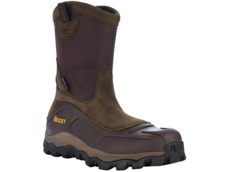 "Rocky GritArmor Slip-On 10"" Waterproof Uninsulated Hunting Boots Leather and Nylon Brown 10 D"