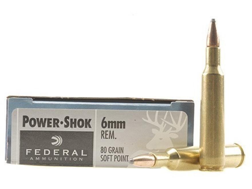 Federal Power-Shok Ammunition 6mm Remington 80 Grain Speer Hot-Cor Soft Point Box of 20