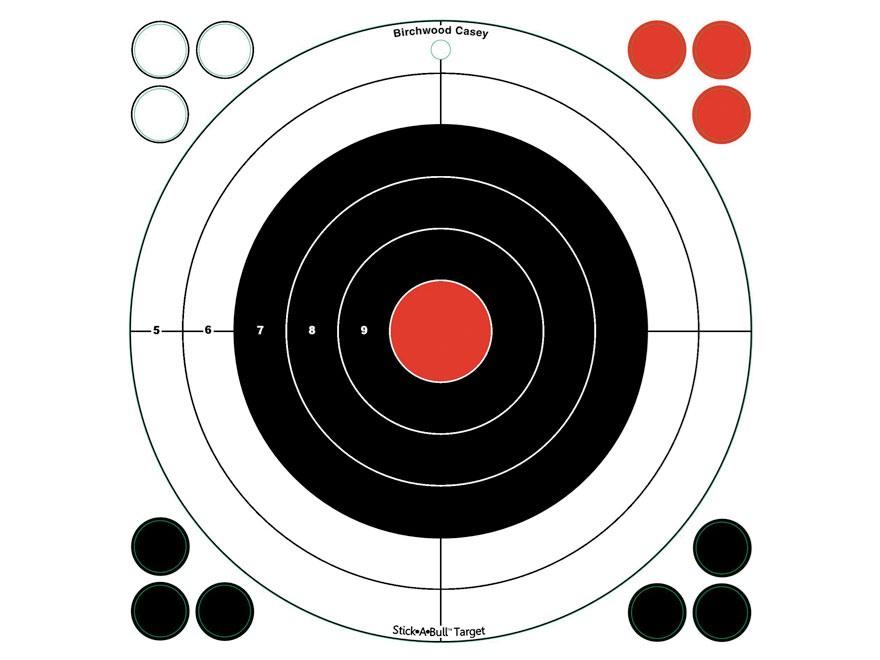 "Birchwood Casey Stick-A-Bull Self-Adhesive 12"" Bullseye Targets Pack of 5"